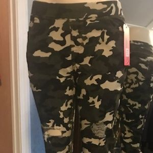 Stretchy Distressed Camouflage Jeggings